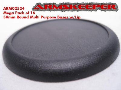 ArmsKeeper 50mm Round Bases with Lip - Pack of 16