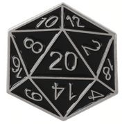 Black and Silver d20 Pin