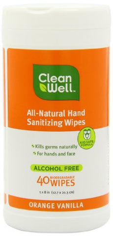 CleanWell All Natural Hand Sanitizing Wipes 40ct