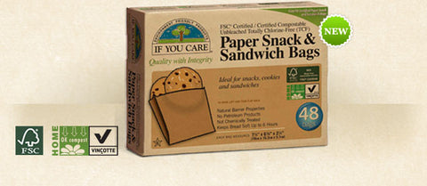 If You Care 100% Unbleached Paper Snack and Sandwich Bags 48ct