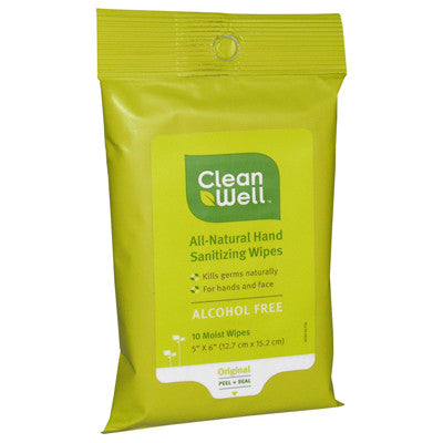 CleanWell All Natural Hand Sanitizing Wipes 10ct