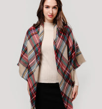 Load image into Gallery viewer, Triangle plaid cashmere scarves