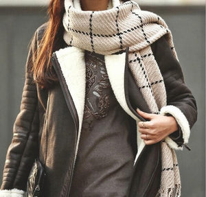 Windowpane Plaid Cashmere Scarf