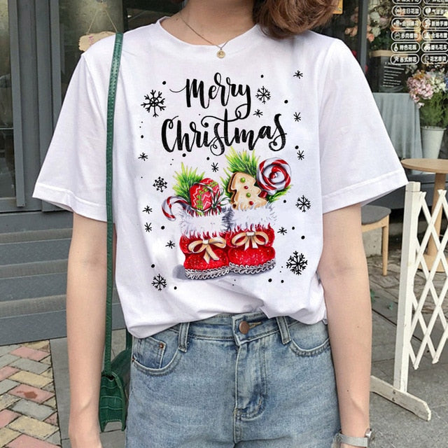 Women's S-2XL Christmas t-shirts - five designs