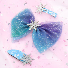 Load image into Gallery viewer, 3 Pcs/set Princess Snowflake Hair Bows for Girls