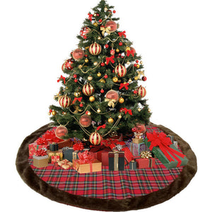 Classic Christmas plaid and black velvet tree skirt