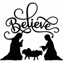 Load image into Gallery viewer, BELIEVE nativity vinyl decal