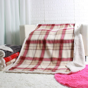 Plaid sherpa plush blankets