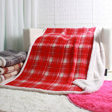 Load image into Gallery viewer, Plaid sherpa plush blankets