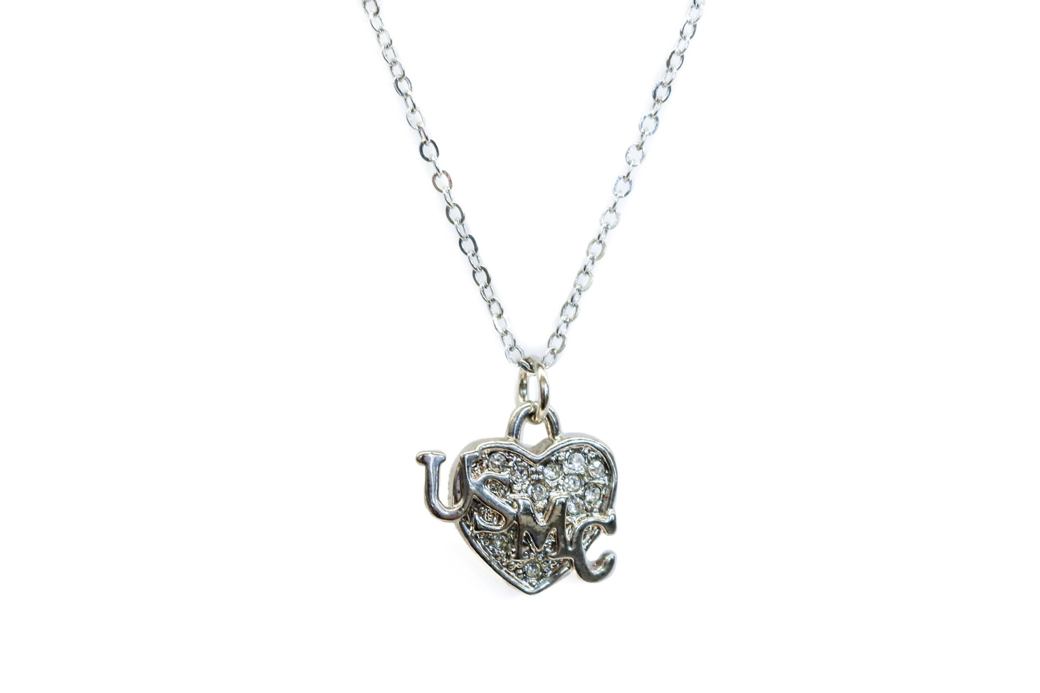 USMC Silver Heart Necklace