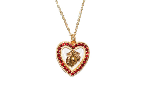 EGA Heart Red Gem Necklace