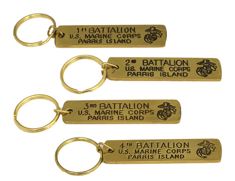 Gold Battalion Engraved Keychain