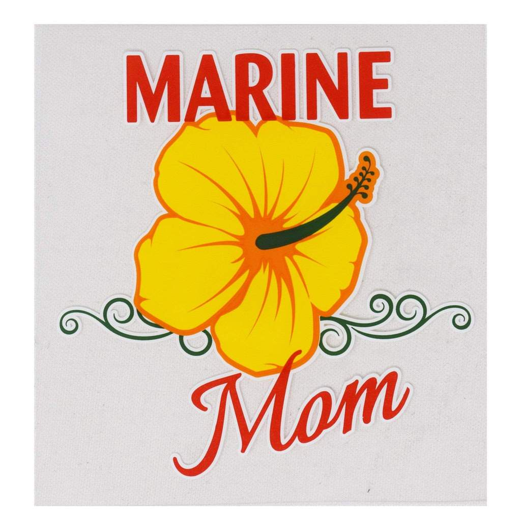 Marine Mom Flower Bumper Sticker