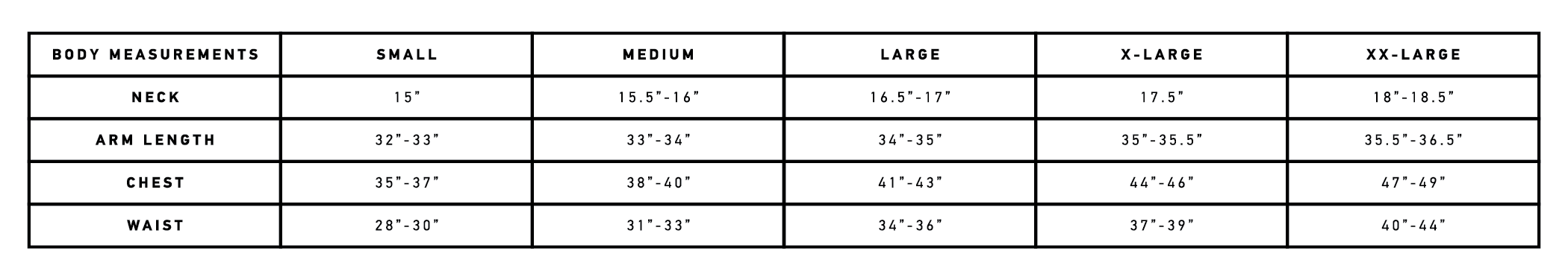 Commuter shirt sizing chart
