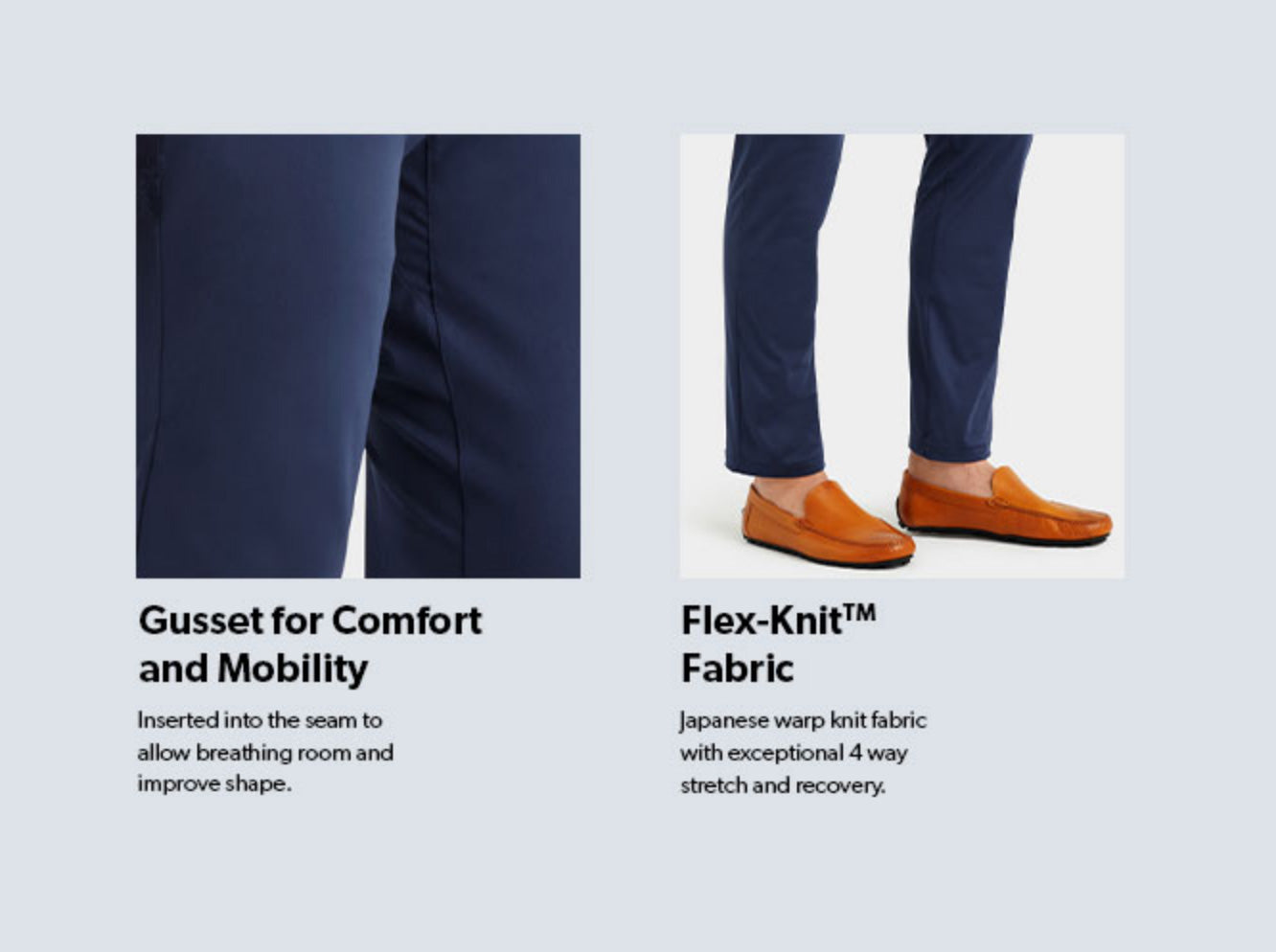 Commuter fabric section, comfort and mobility and flex knit fabric