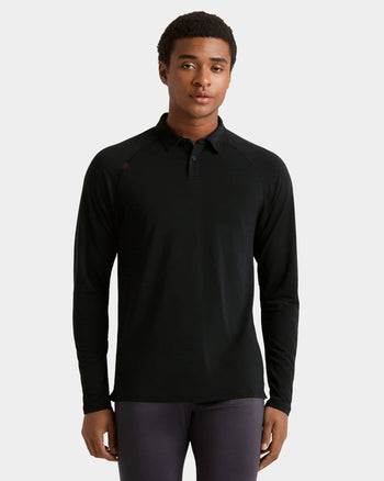 Delta™ Pique Long Sleeve Polo Black / Small / Notifyfeatured image