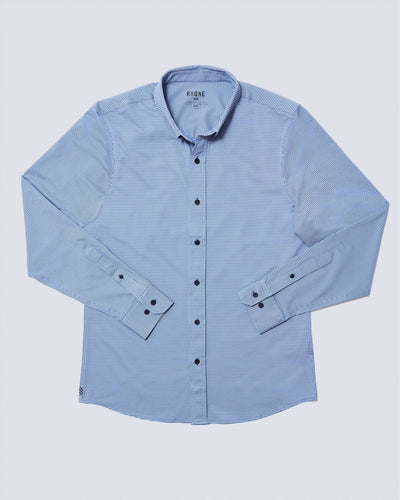 Commuter Dress Shirt Navy/Light Blue Micro Gingham featured image