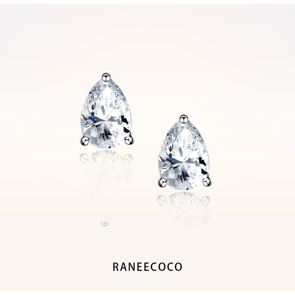 "Raneecoco Jewelry 1.0 ct ( 0.5 ct / 4*6 mm CZ each side ) ""STUNNING FLAME"" Stud Earrings - Pear Cut"