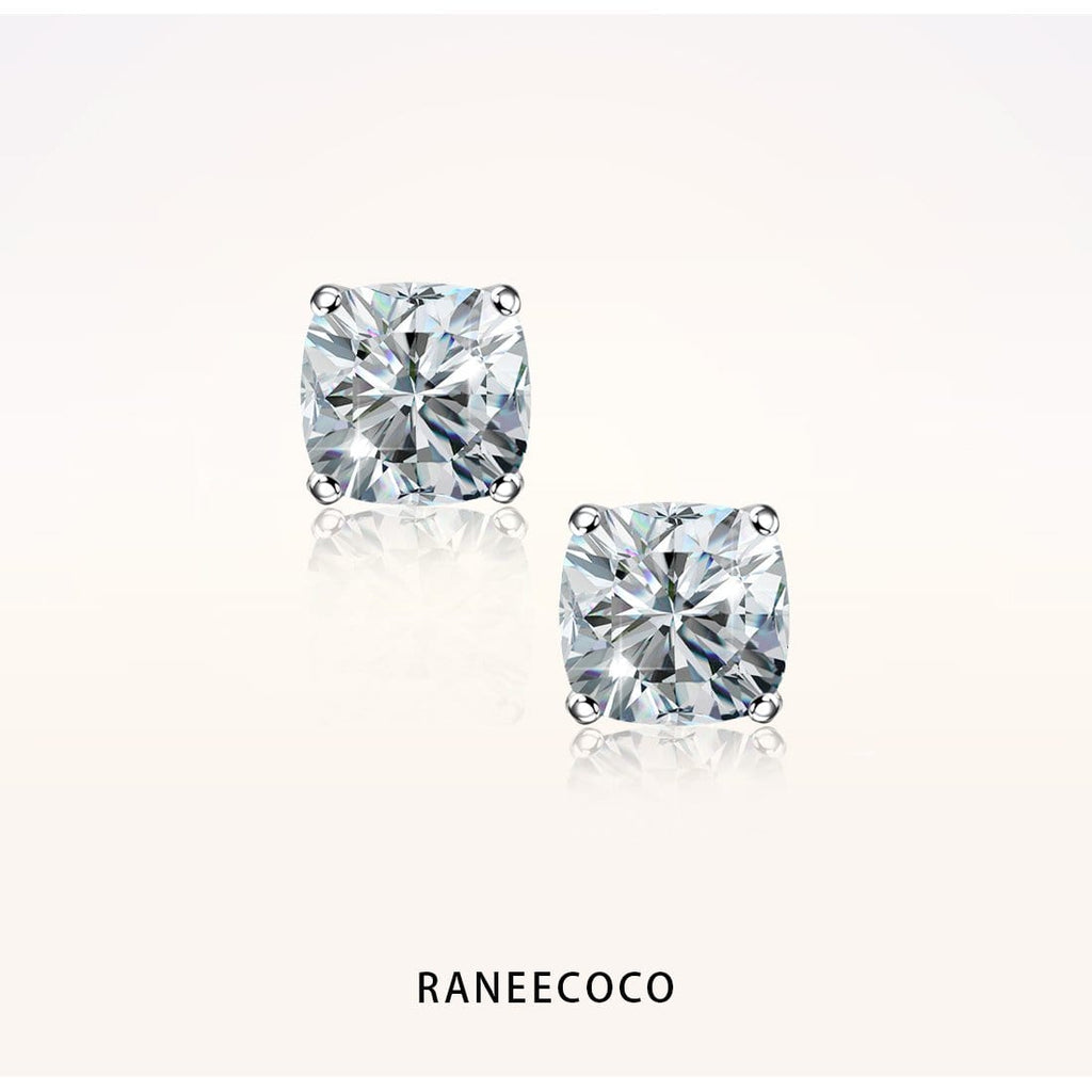 "Raneecoco Jewelry 1.2 ct ( 0.6 ct / 5*5 mm CZ each side ) ""STUNNING FLAME"" Stud Earrings - Cushion Cut"