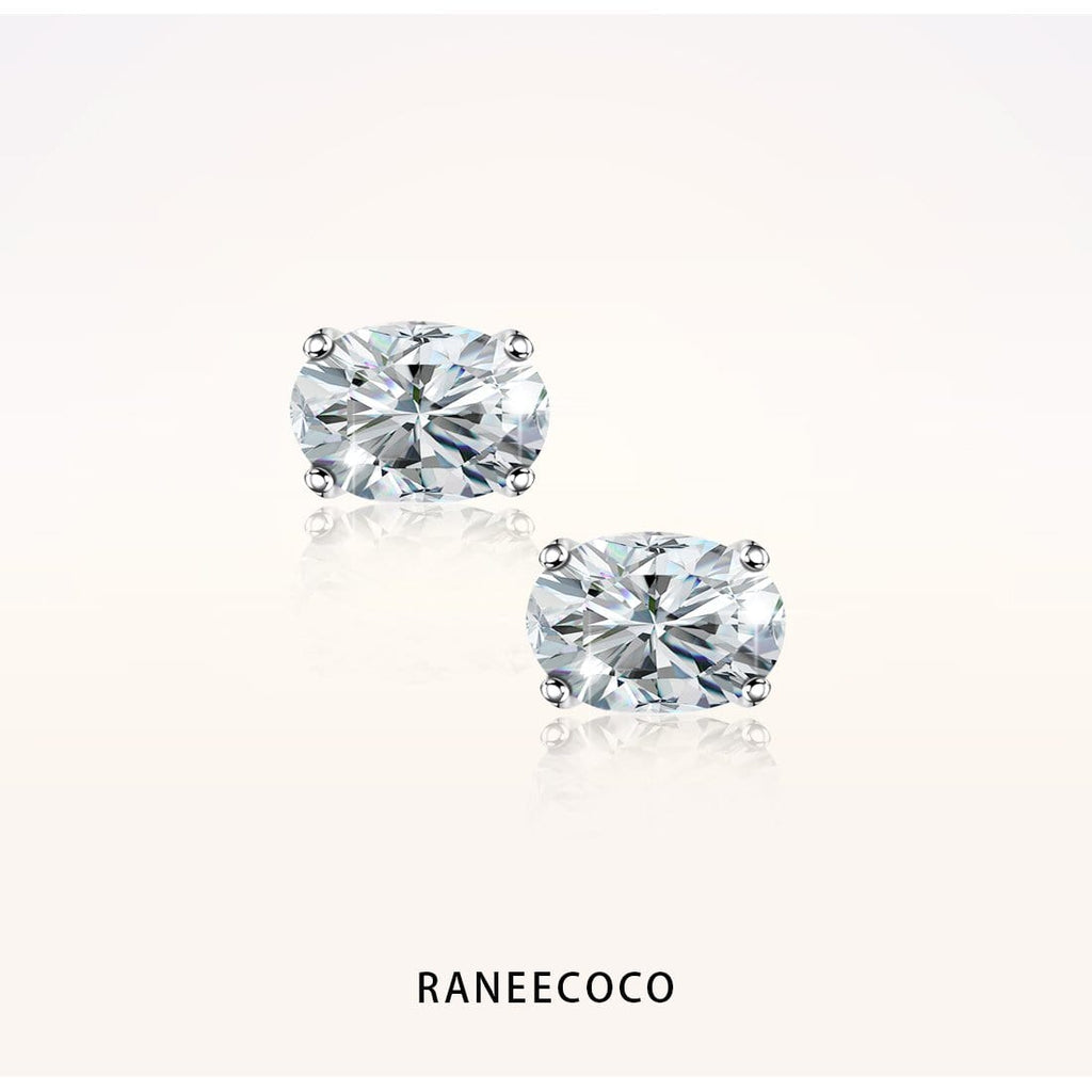 "Raneecoco Jewelry 2.0 ct ( 1.0 ct / 5*7 mm CZ each side ) ""STUNNING FLAME"" Stud Earrings - Oval Cut"