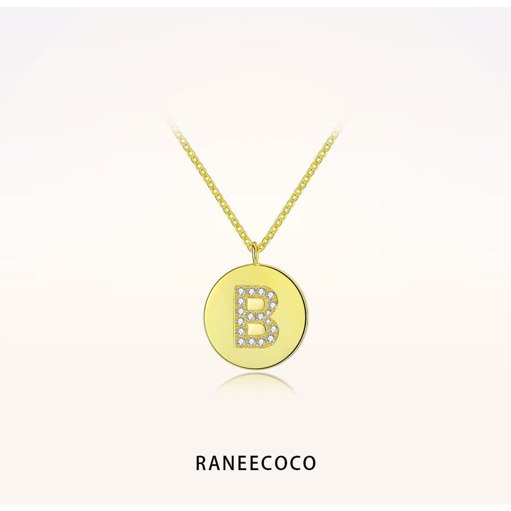 Raneecoco Jewelry B Initial Letter Coin Necklace