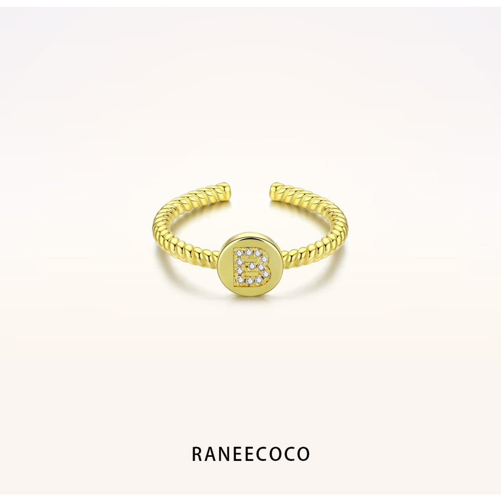 Raneecoco Jewelry B Initial Letter Twist Ring