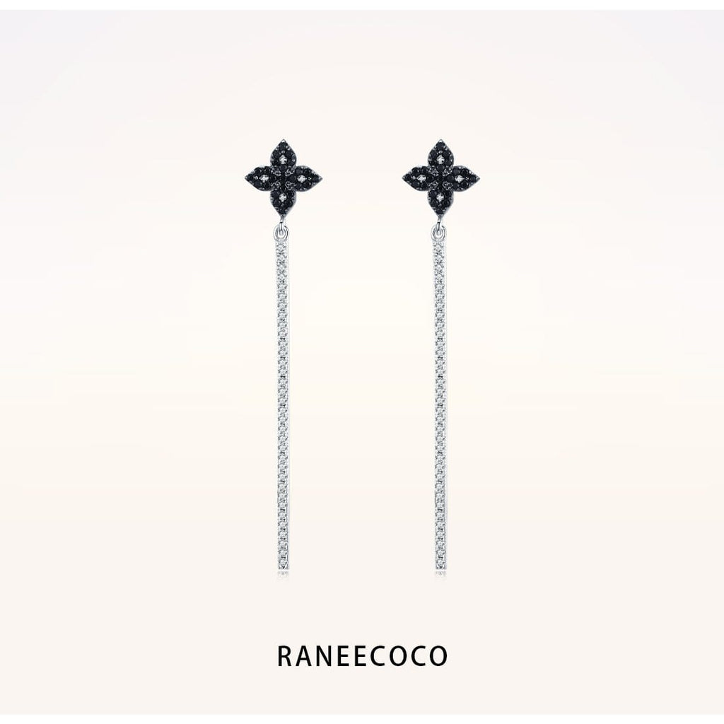 Raneecoco Jewelry Black Four Leaf Clover Dangle Earrings