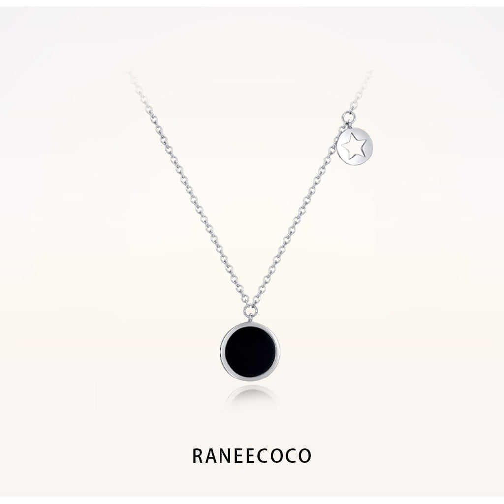 Raneecoco Jewelry Black Onyx Coin Necklace