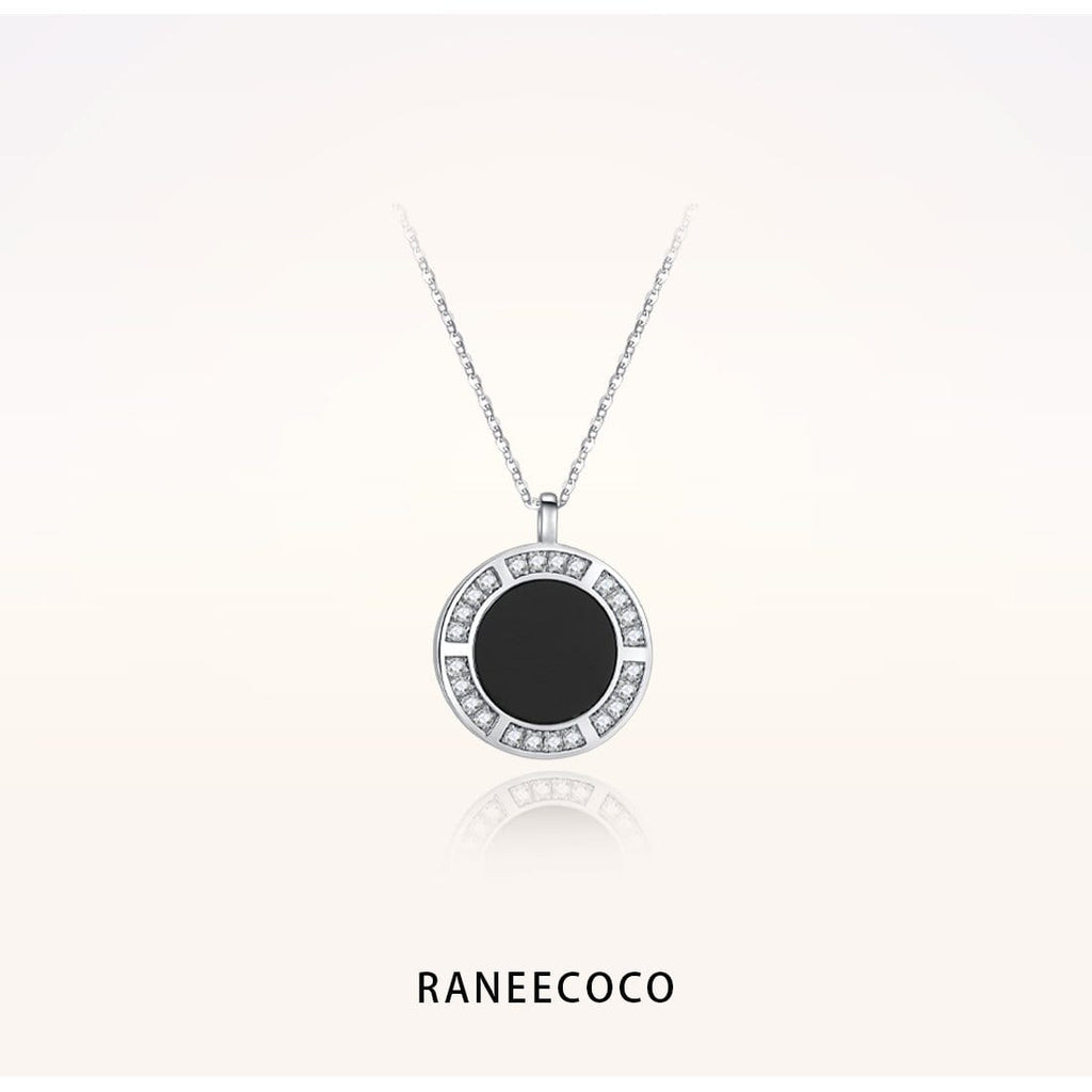 Raneecoco Jewelry Black Onyx Coin Necklace with CZ