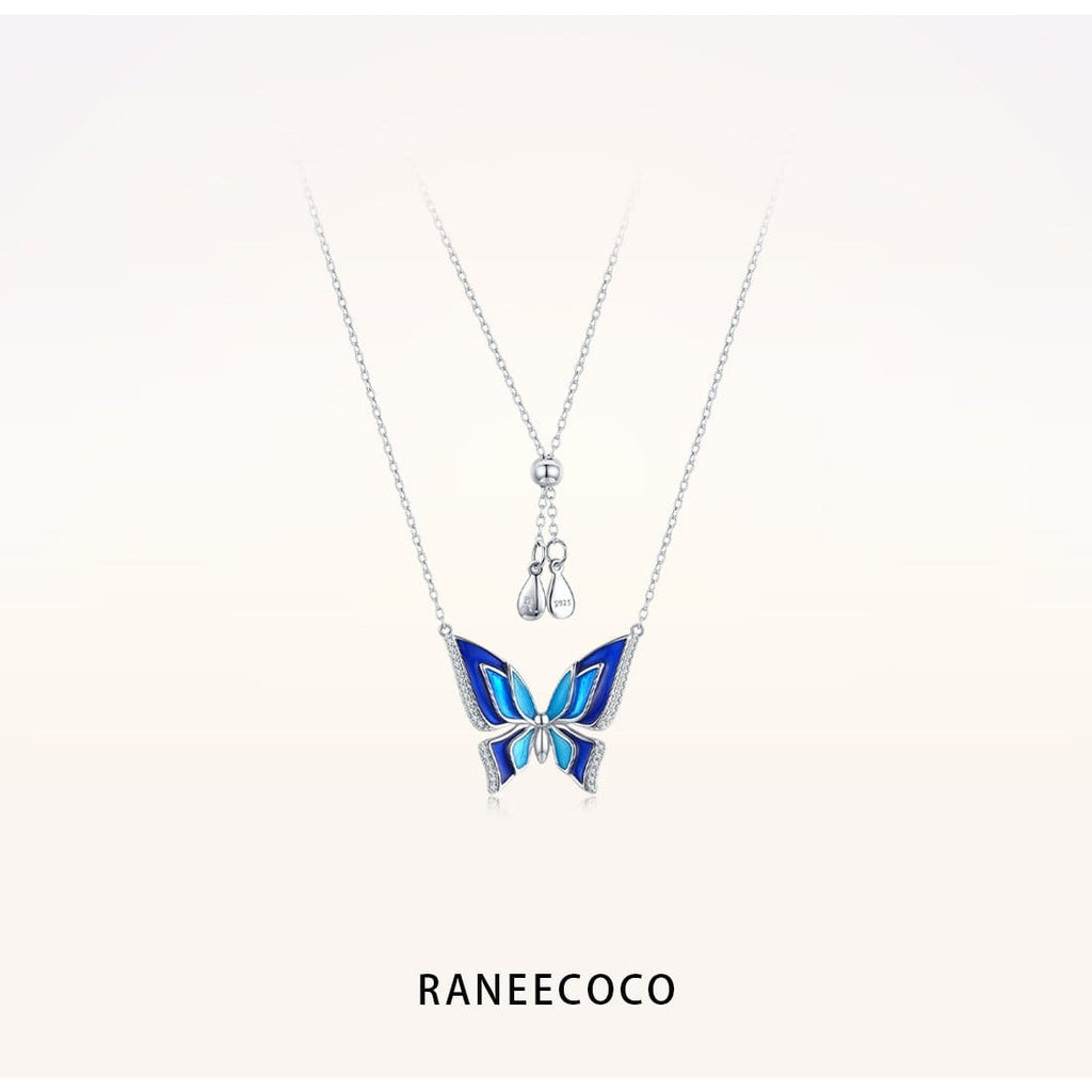 Raneecoco Jewelry Blue Butterfly Necklace