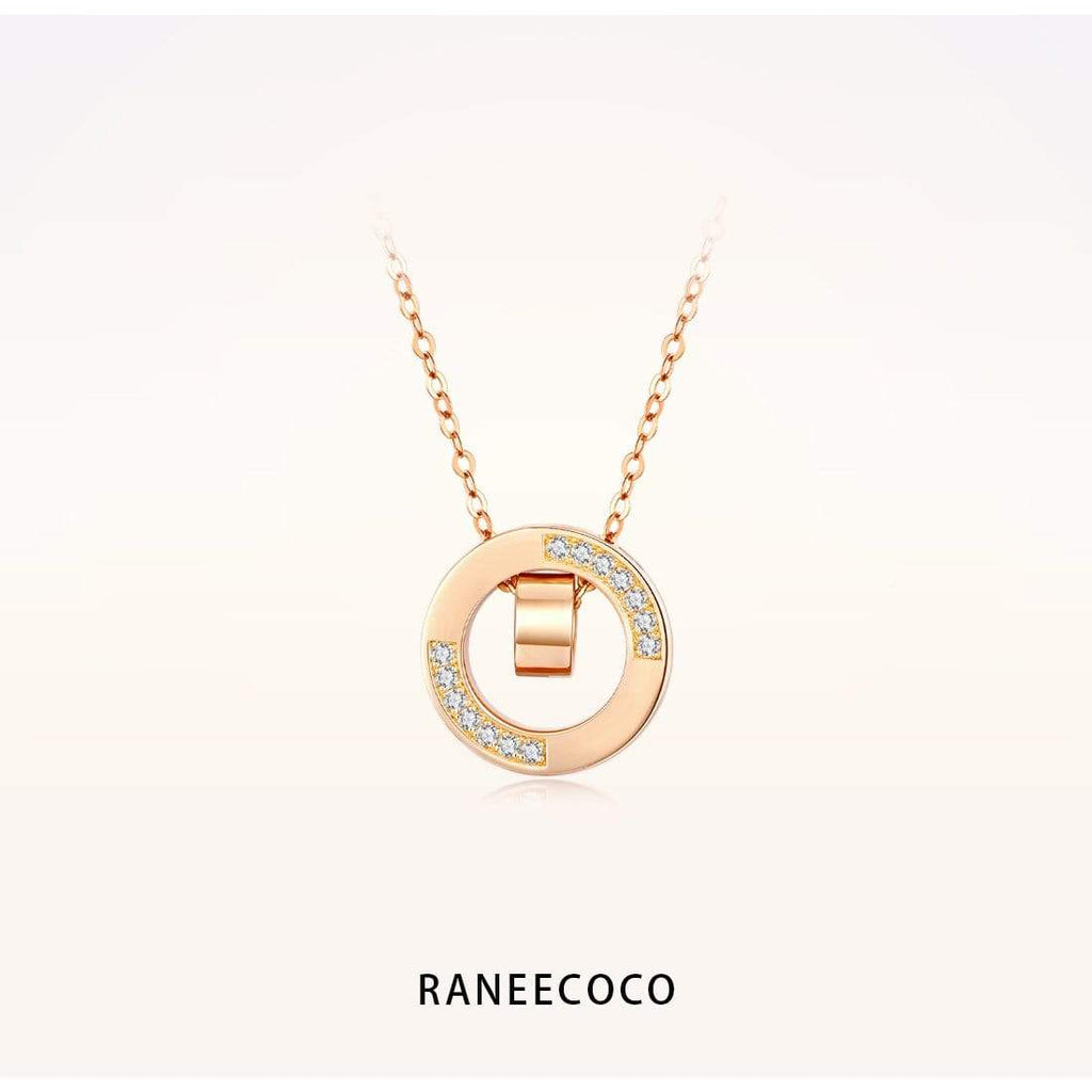 Raneecoco Jewelry Double Ring Necklace