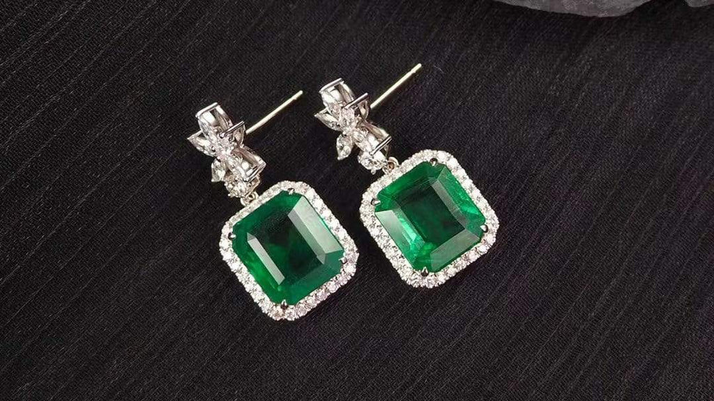 "Raneecoco Jewelry ""KARLOFEA"" Emerald Gold Earrings with Diamonds 21376860"