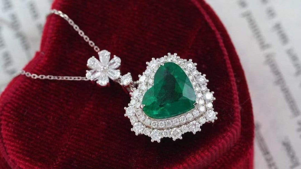 "Raneecoco Jewelry ""KARLOFEA"" Emerald Gold Necklace with Diamonds 25836203"