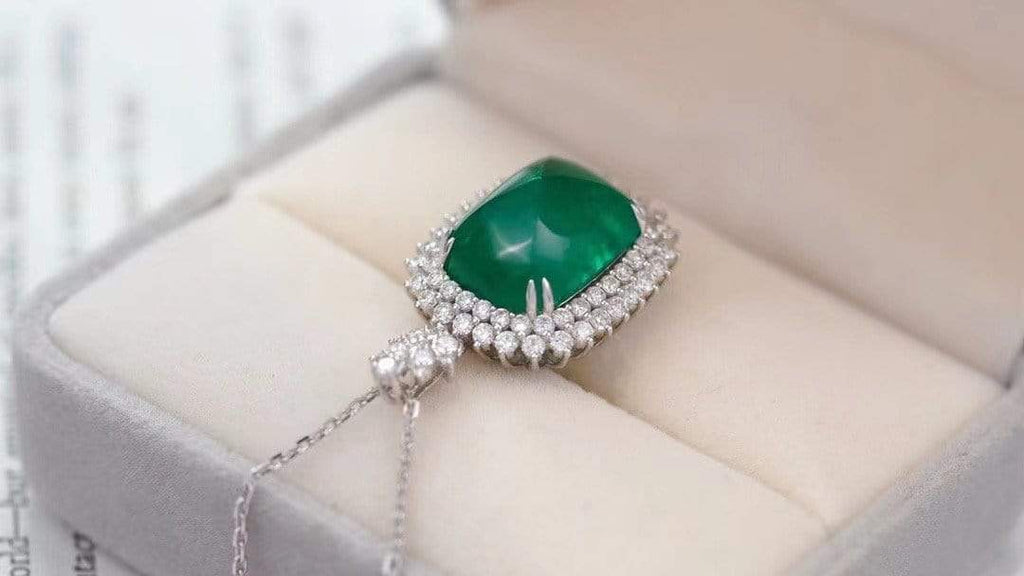 "Raneecoco Jewelry ""KARLOFEA"" Emerald Gold Necklace with Diamonds 29668287"