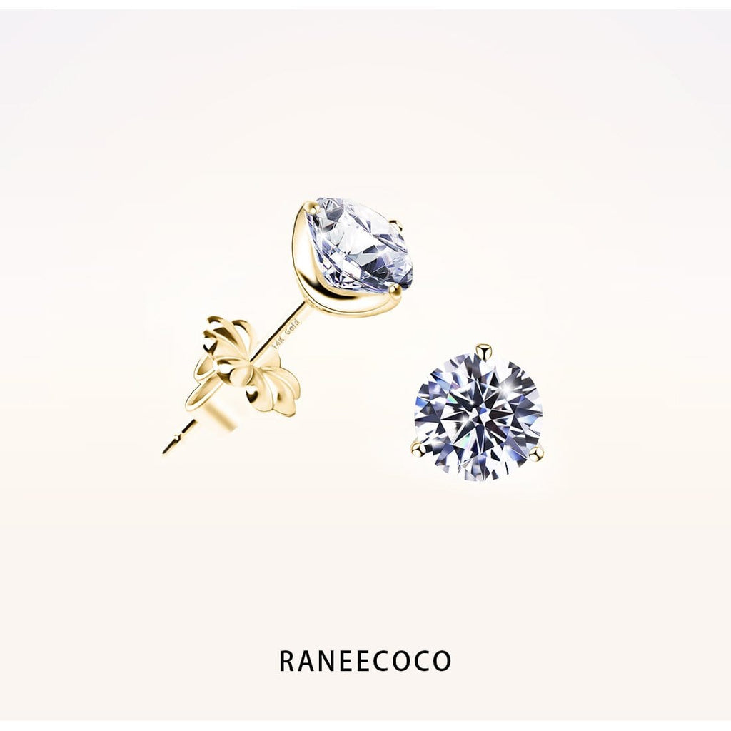 Raneecoco Jewelry Yellow / 0.9 ct Stunning Flame Round Brilliant Stud Earrings with Gold Post