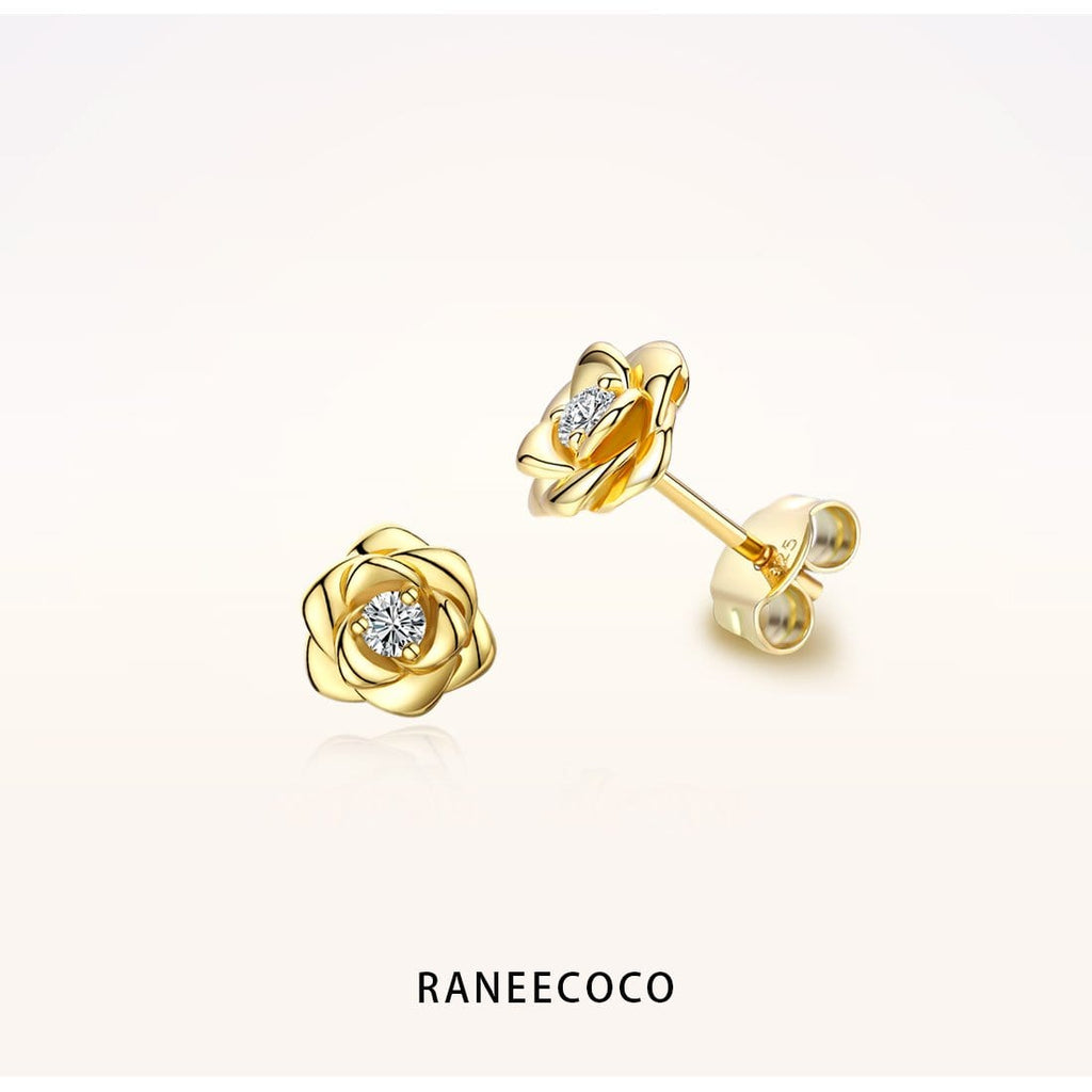 Raneecoco Jewelry Yellow Rose Flower Stud Earrings