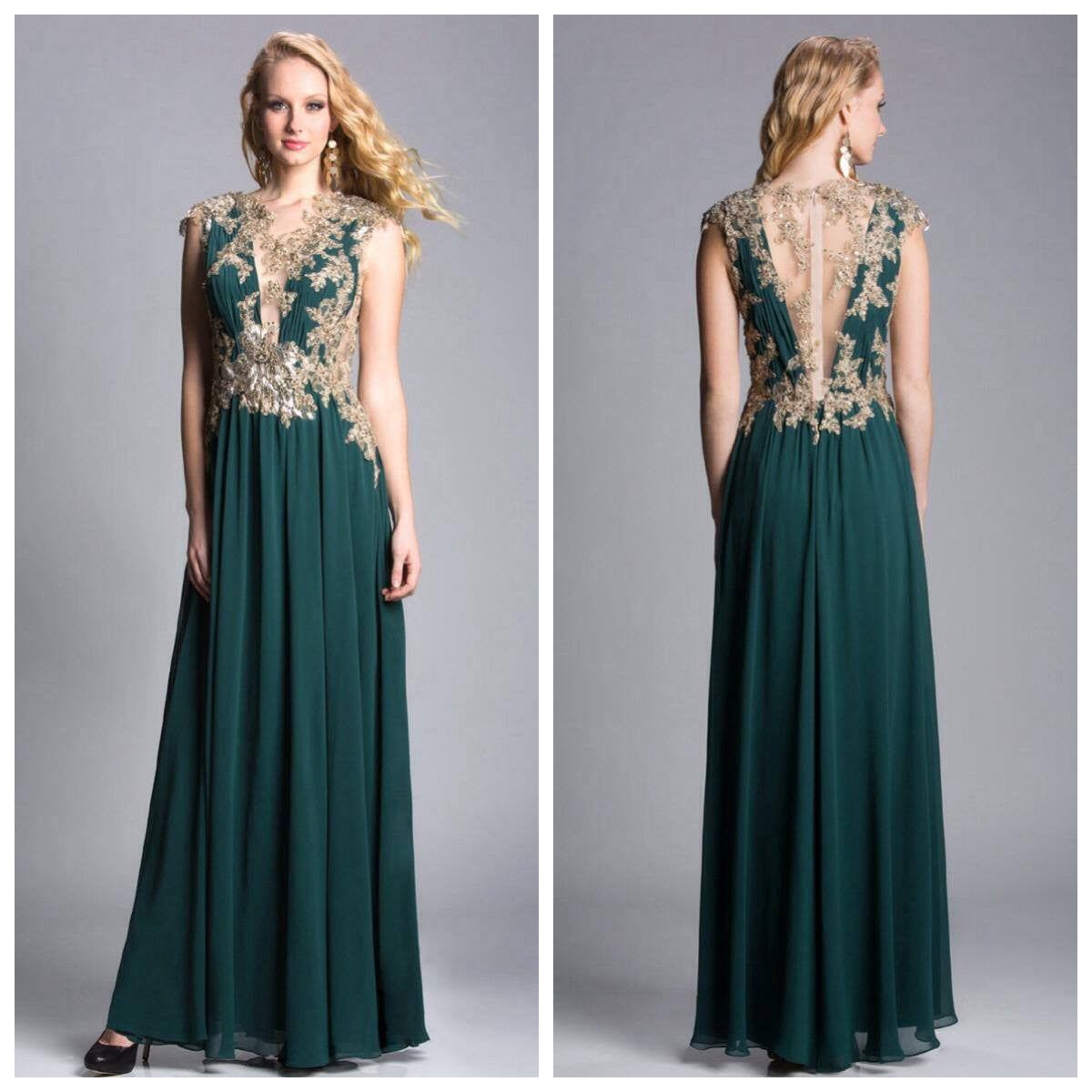 Feriani 18377 Champagne and Emerald Goddess Gown