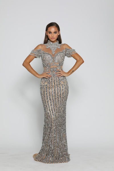 PS3019 GUNMETAL NUDE COUTURE DRESS