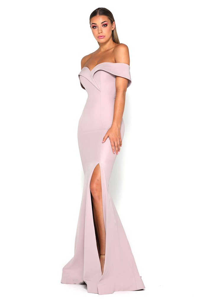 Rebecca Gown Mauve   This off-shoulder