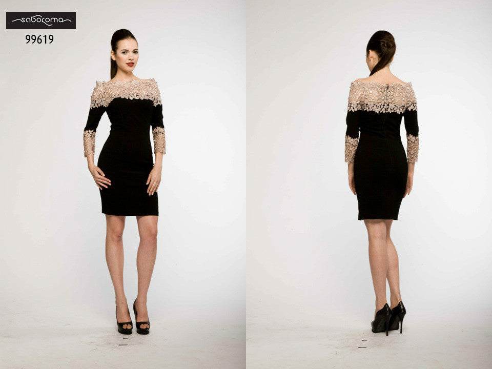 Saboroma 99619 Lace-Outlined Cocktail Dress