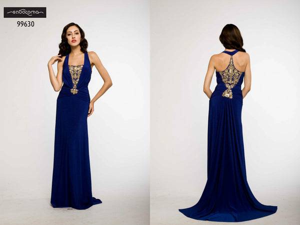 Saboroma 99630 Royal Blue Gown with Gold Details