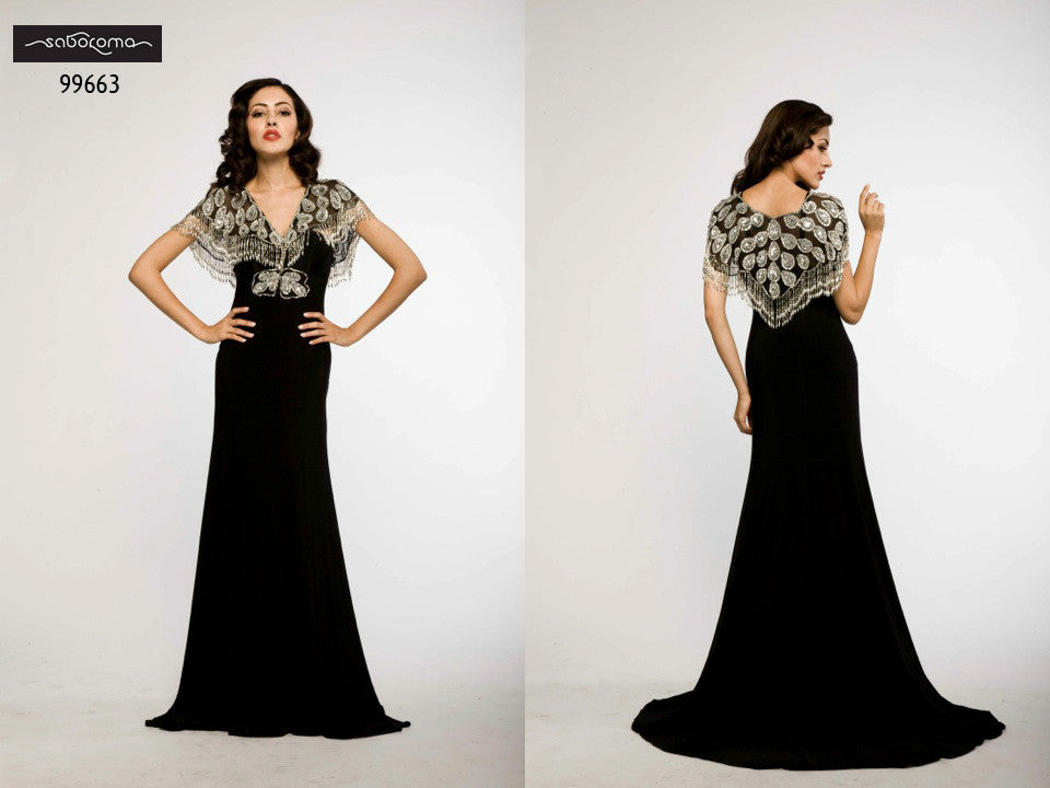 Saboroma 99663 SIlver-Peacock Embellished Gown
