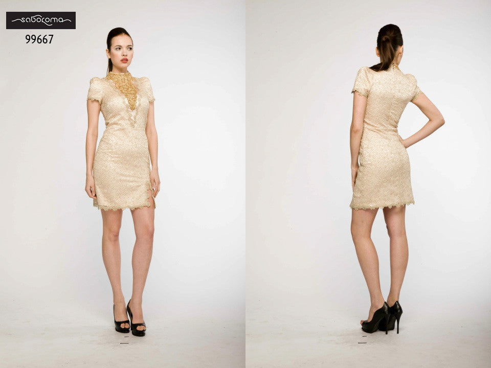 Saboroma 99667 Gold Cocktail Dress