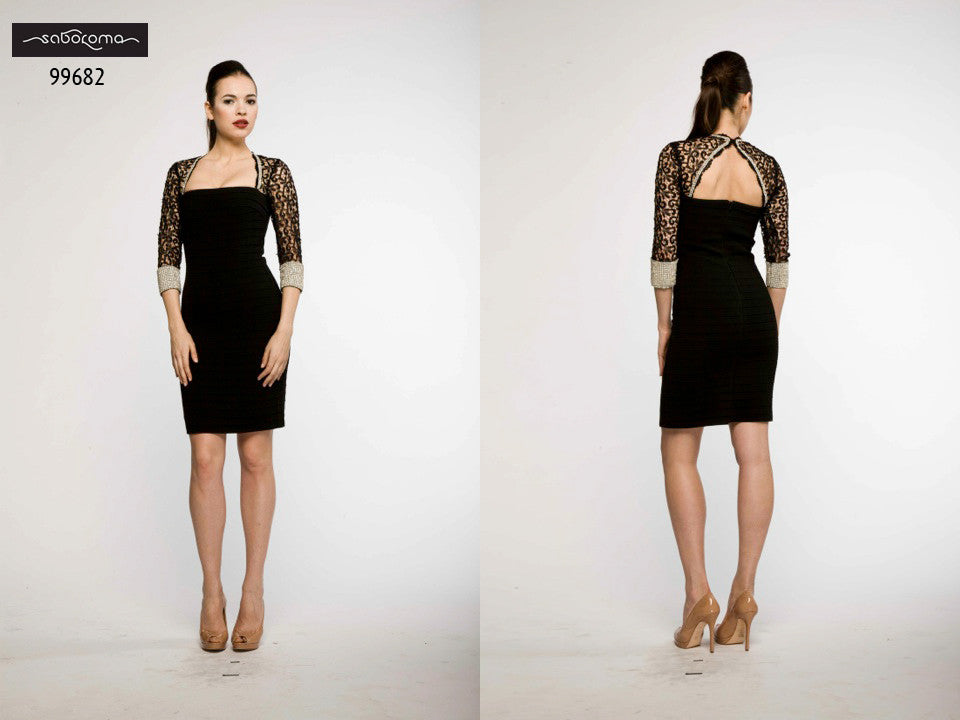 Saboroma 99682 Sleek Black Cocktail Dress with Shrug