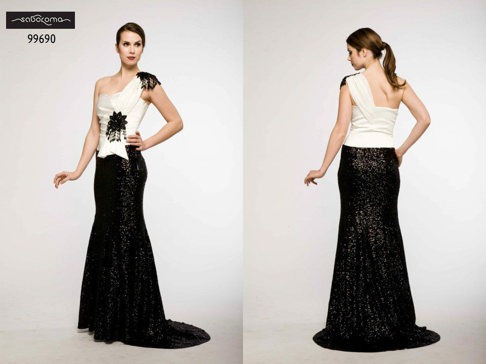Saboroma 99690 Jazzy Black and White One-Shoulder Sequenced Gown
