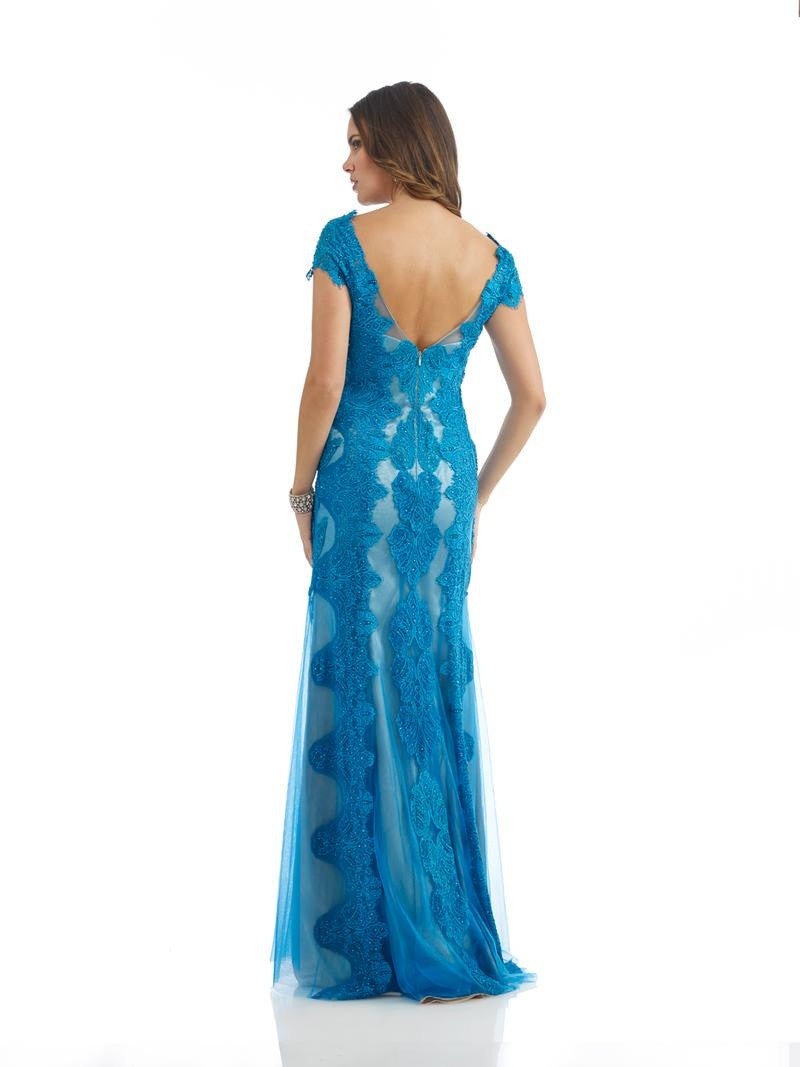 Morrell Maxie 14257 Teal & Nude Laced Gown