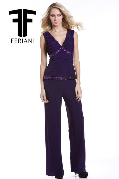 Feriani 18322 Plum One-Piece Suit Pant and Embellished Top