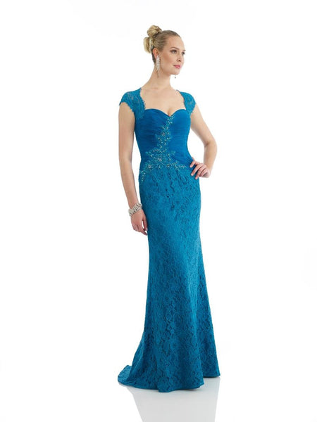 Morrell Maxie 14296 Cap-Sleeved Laced Teal Gown