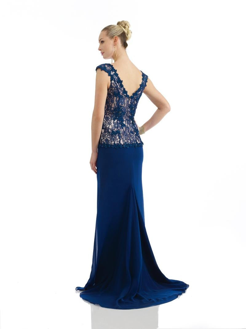 Morrell Maxie 14247 Navy & Nude Lace Bodice Gown