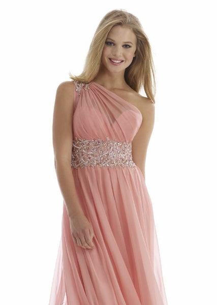 Morrell Maxie 14096 One-Shoulder Rose Gown